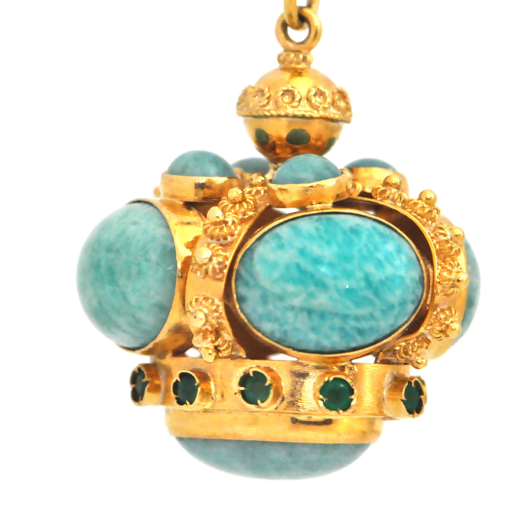 Amazonite Gold Charm - Montreal Jewellery