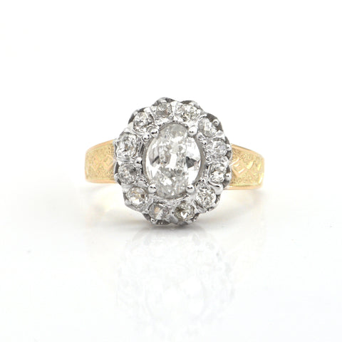 1.75cts Antique Oval old mine cut diamond ring Circa 1880 - GIA certified , Montreal estate jewellers