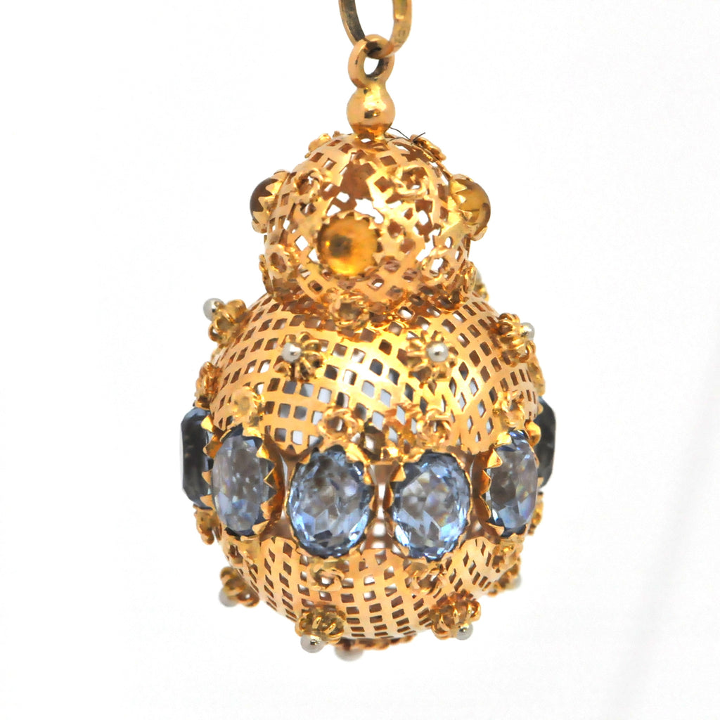Vintage Large Coloured Glass and Gold Charm