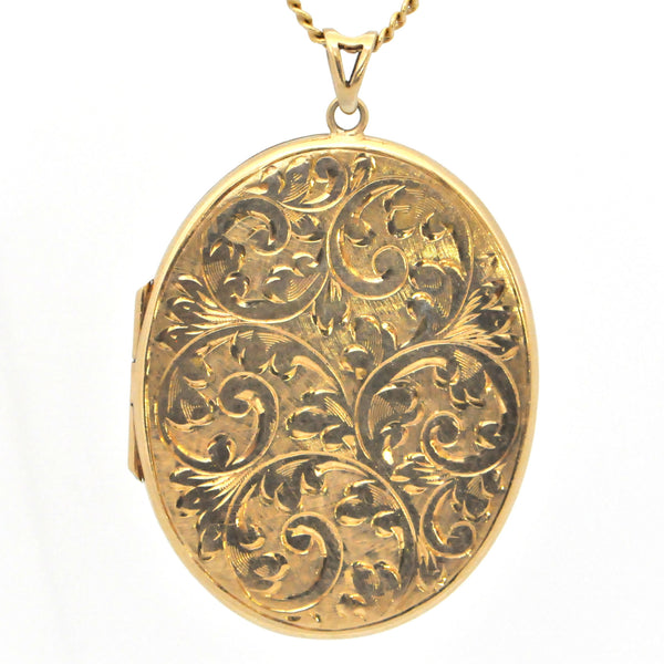 Antique 9k Gold Locket Pendant - Daisy Exclusive, Montreal jewellery