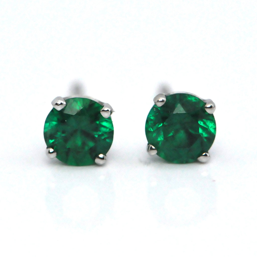 Zambian Emerald Stud Earrings 14k - Westmount, Montreal - Daisy Exclusive