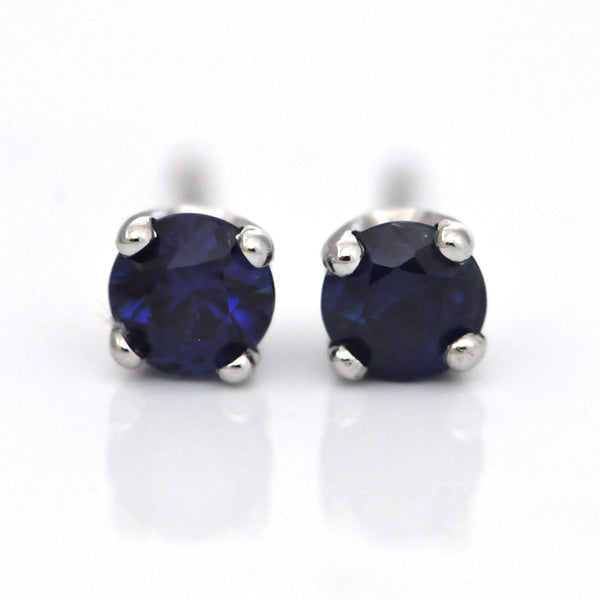 Royal Blue Sapphire Stud Earrings (0.70 ct) - Westmount Québec