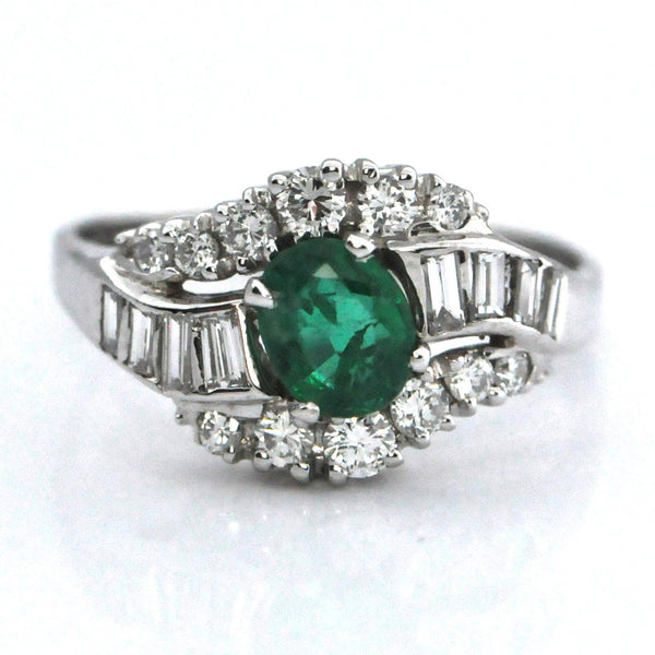 Emerald and Diamond Mid Century ring