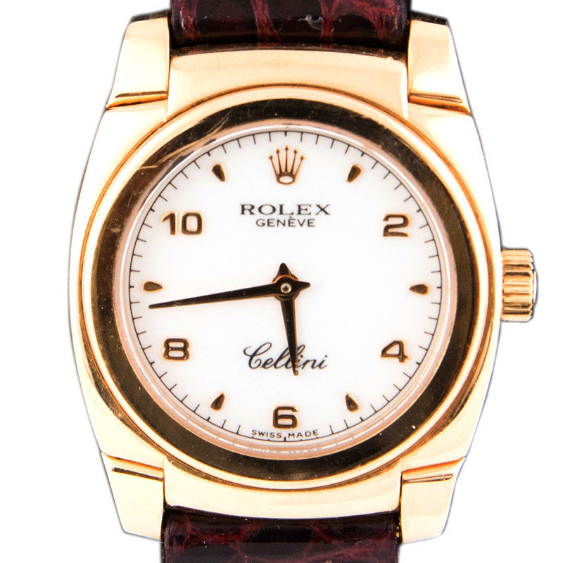 Ladies 18K ROLEX Manual Cellini with Red Leather Band c.1999