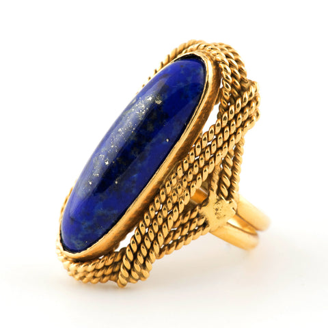 Long Oval Lapis Lazuli Gold ring - Westmount, Montreal
