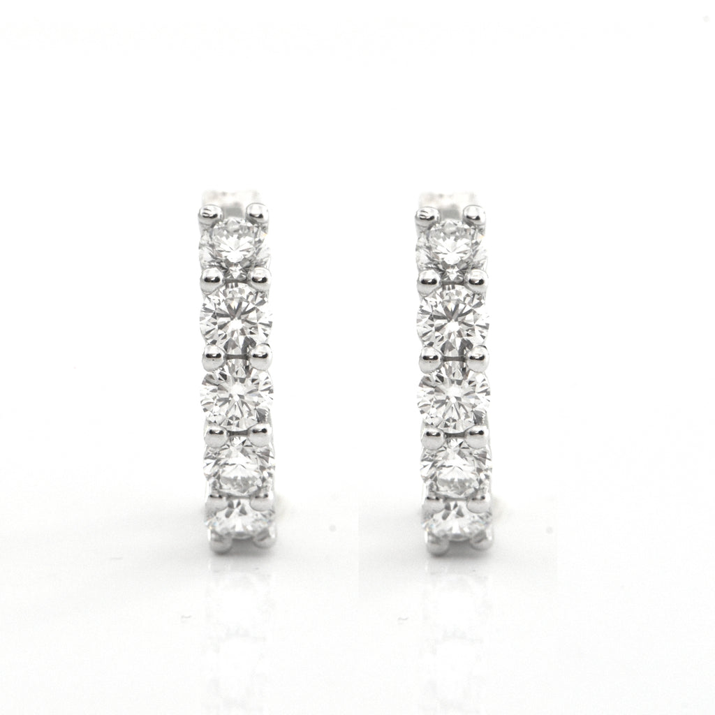 1.09ct Diamond Five-Stone Huggie Earrings