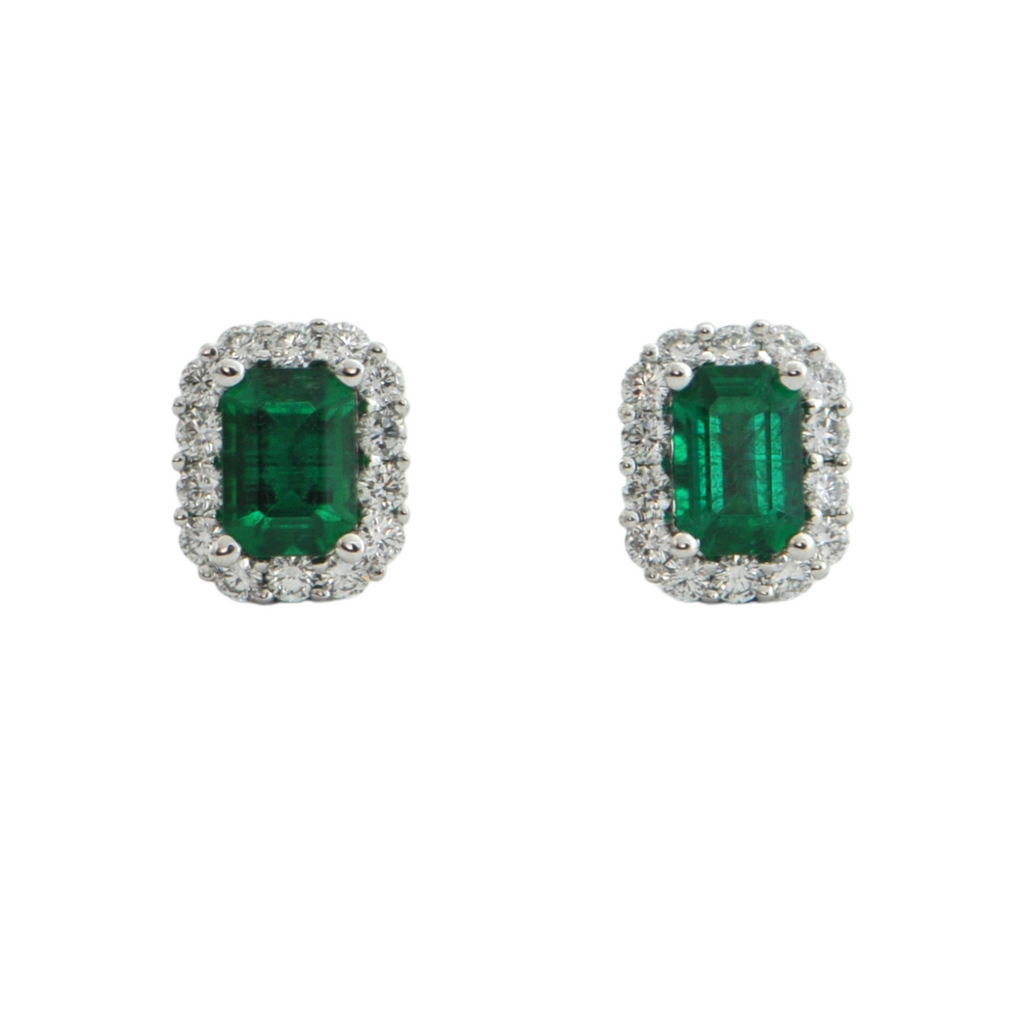 Daisy Exclusive Emerald and Diamond 18K White Gold Earring + Montreal Estate Jewelers