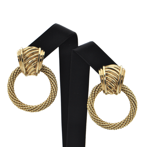 Vintage 'David Yurman' Doorknocker 14K Yellow Gold Earrings + Montreal Estate Jewelers