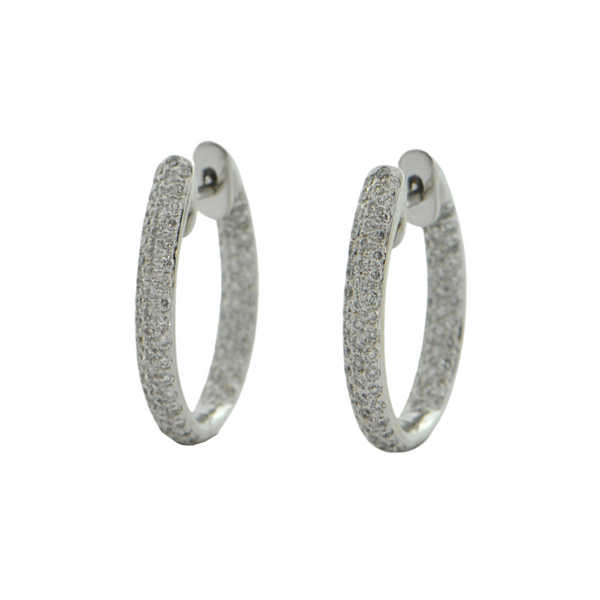 Vintage Diamond 'Inside Outside' Oval 18k White Gold Hoops + Montreal Estate Jewelers