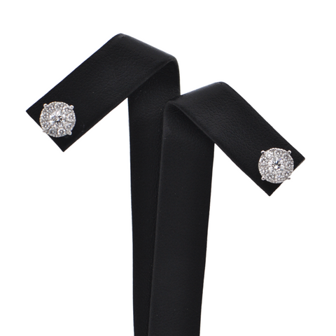 Daisy Exclusive 18K White Gold Diamond Cluster Earrings + Montreal Estate Jewelers