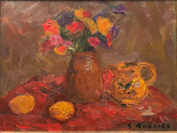 G. Roberts - 'Still Life in Orange - Flowers in Vase', Oil on Masonite (12