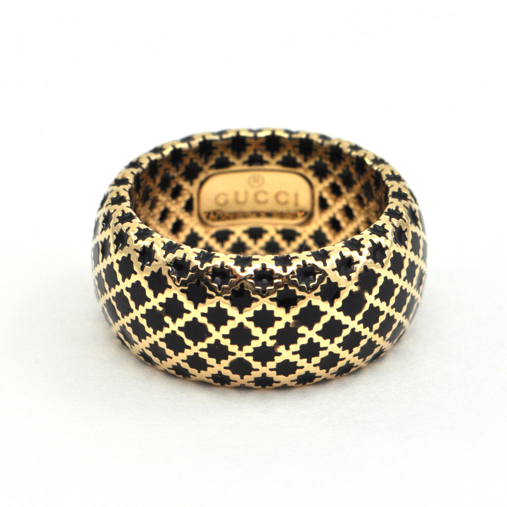Vintage Gucci Diamantissima Black enamel 18k Ring - Montreal estate jewellers