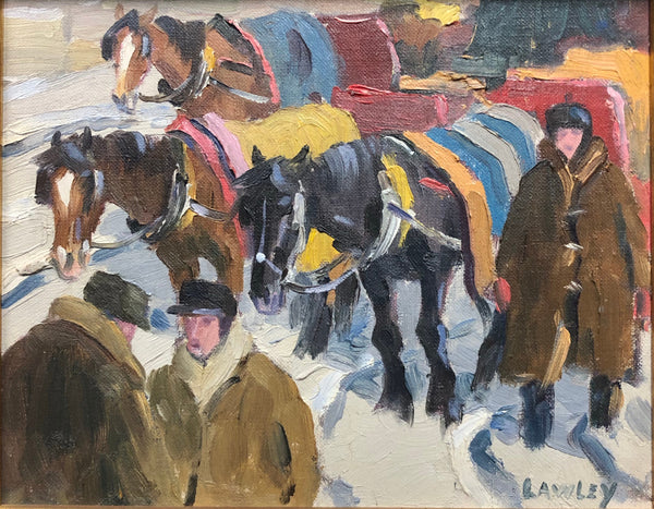 John D. Lawley - 'Cab Horses, Mt Royal' - Oil on Board - 20 cm x 25 cm (8'' x 10'') - Galerie Daisy - Canadian Art