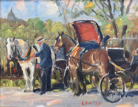 John D. Lawley - 'The Cabbie, Remembrance Rd.' - Oil on Panel - 20 cm x 25 cm (8'' x 10'') - Galerie Daisy - Canadian Art