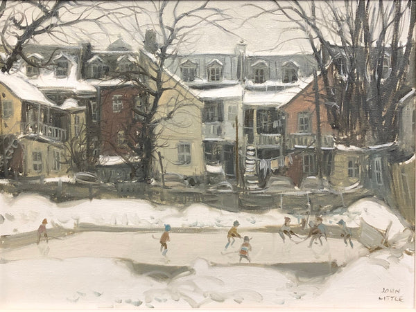 John Little - 'Patinoire, Behind Lorne Ave' - Oil on Canvas (12'' x 16'') - Galerie Daisy - Canadian Art