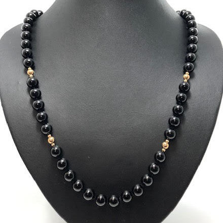 Onyx and 14k Yellow Gold Bead Necklace + Montreal Estate Jewelers