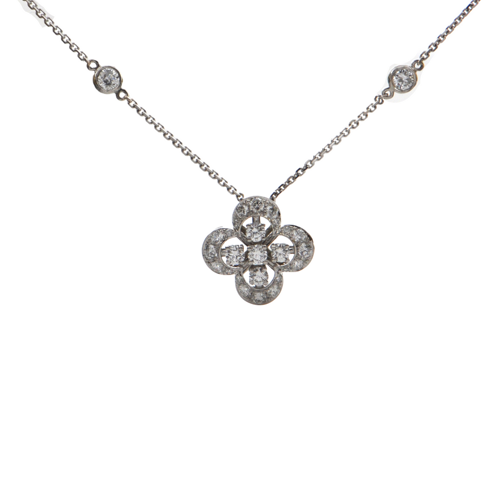 Daisy Exclusive 18K White Gold Diamond Quatrefoil Necklace + Montreal Estate Jewelers