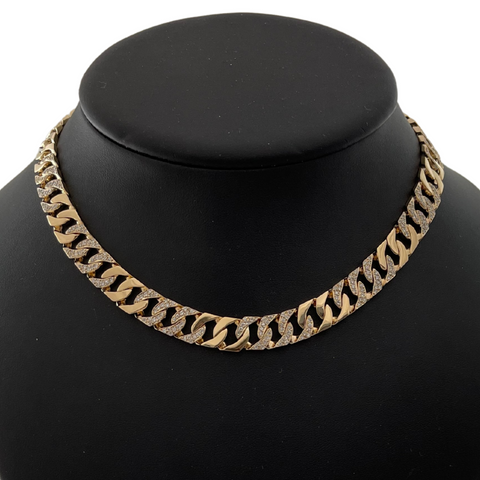 Vintage 18K Yellow Gold Diamond Curb Link Necklace + Montreal Estate Jewelers