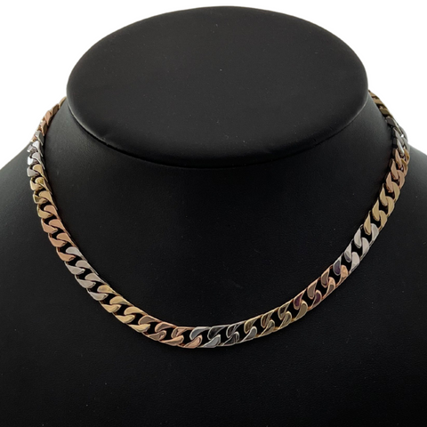 Vintage Solid 18k Three-Tone Curb Link Necklace + Montreal Estate Jewelers