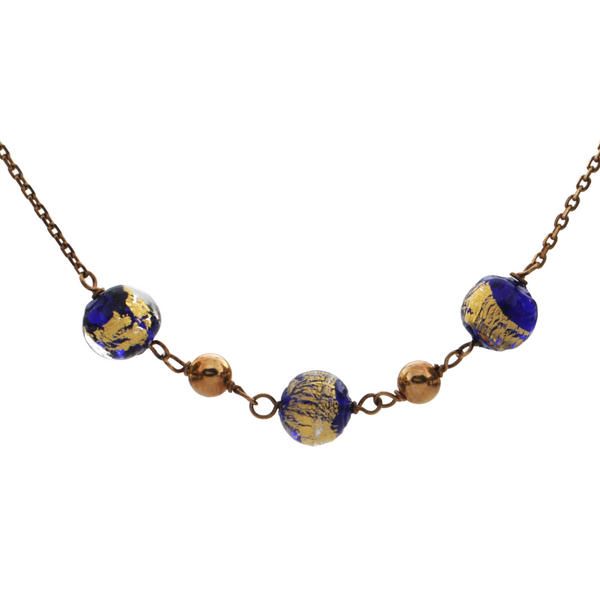 Vintage French 18K Yellow Gold 'Murano' Glass Necklace + Montreal Estate Jewelers