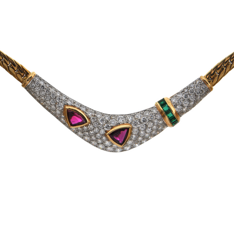 Vintage 18K Gold Diamond and Garnet Collar Necklace + Montreal Estate Jewelers