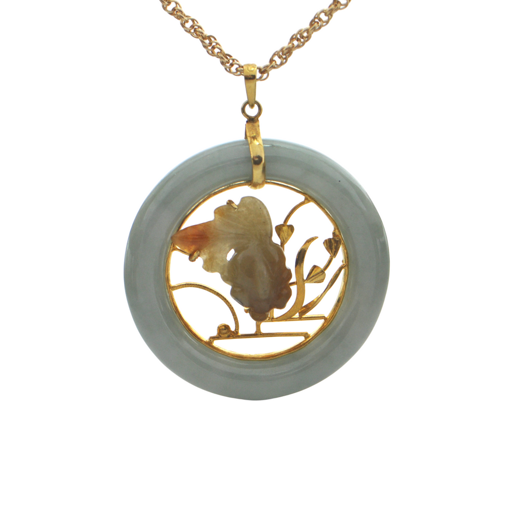 Vintage Jade Disc with Koi Fish 14K Yellow Gold Pendant + Montreal Estate Jewelers