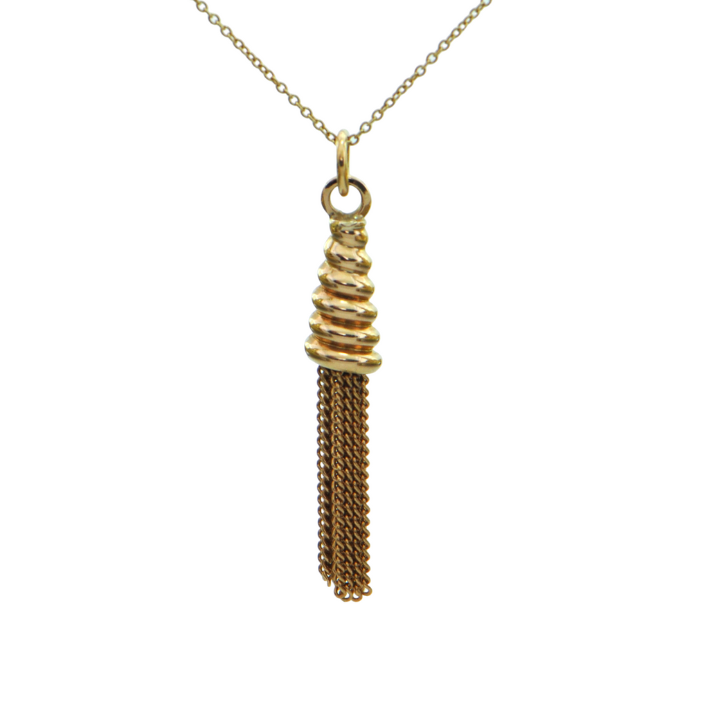 Vintage 14K Yellow Gold Tassel Fob Pendant + Montreal Estate Jewelers