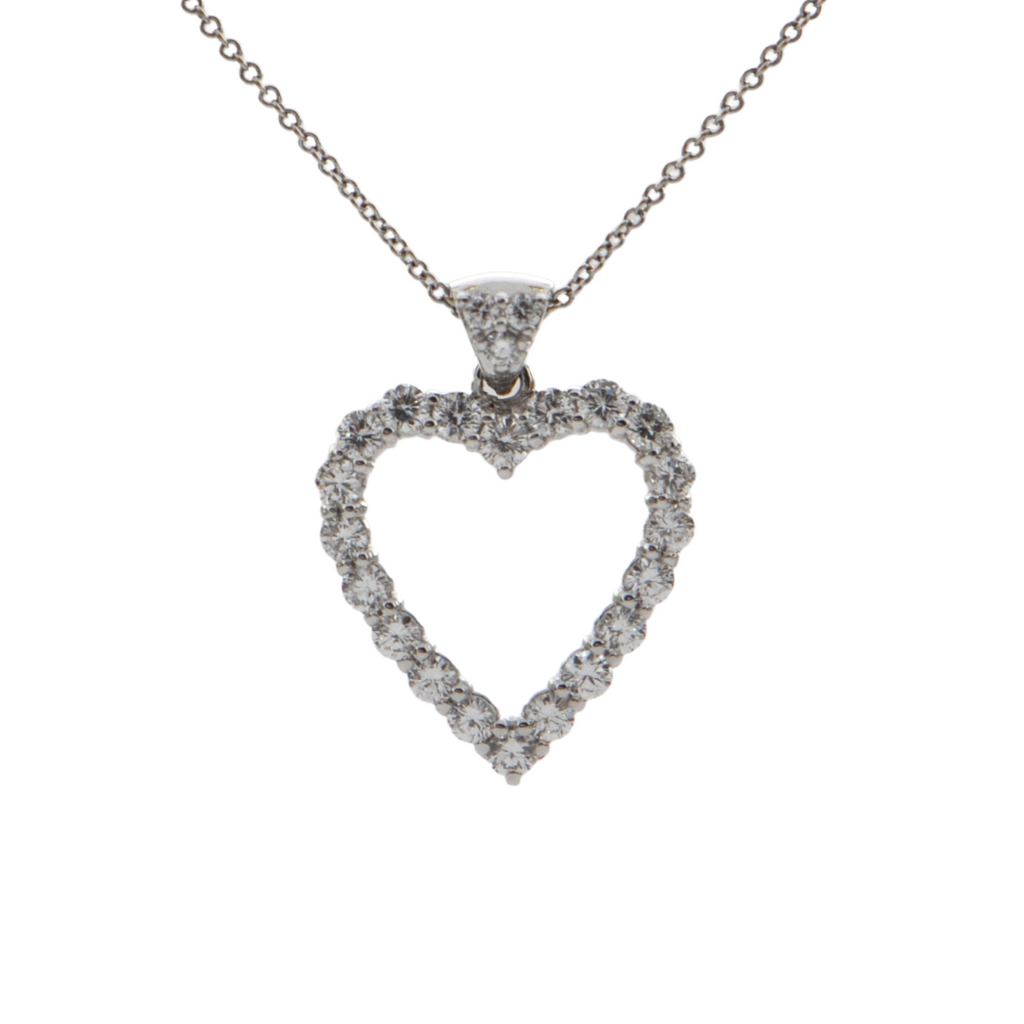 Daisy Exclusive Diamond Heart 18k White Gold Pendant + Montreal Estate Jewelers