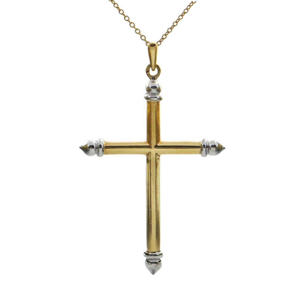 Vintage 18K Two-Toned Gold Cross Pendant + Montreal Estate Jewelers