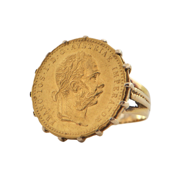 Vintage 23k Austrian 1 Ducat Coin, 14k Yellow Gold Ring + Montreal Estate Jewelers