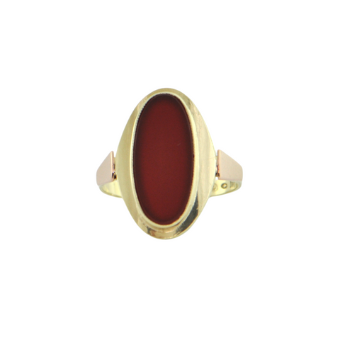 Vintage European 14K Yellow and Rose Gold Carnelian Ring + Montreal Estate Jewelers