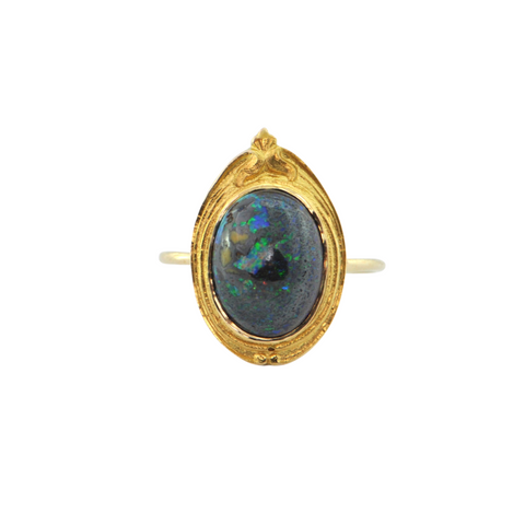 Antique solid Black Opal 14K Yellow Gold Ring + Montreal Estate Jewelers