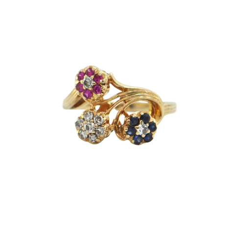 Vintage Retro Diamond, Sapphire and Ruby 14K Yellow Gold Rosette Ring + Montreal Estate Jewelers