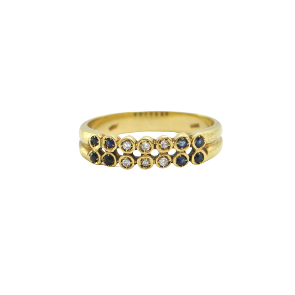 Vintage Sapphire and Diamond 18k Yellow Gold Ring