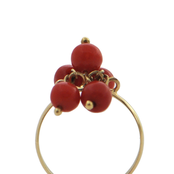 Vintage 18K Yellow Gold Mediterranean Red Coral Ring + Montreal Estate Jewelers