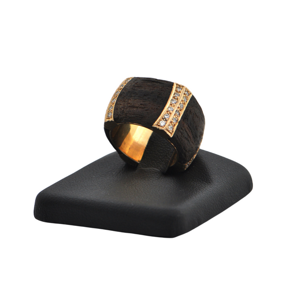 Estate Signed 'Binder' Modernist Diamond & Wood 18K Gold Ring (C.1990) + Montreal Estate Jewelers
