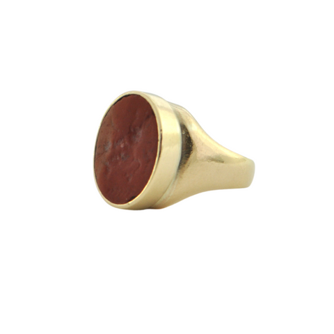 Ancient Roman Jasper Seal in Mid-Century 18K Gold Intaglio Ring + Montreal Estate Jewelers