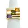 Vintage 18K Yellow Gold Amethyst Bar Ring + Montreal Estate Jewelers