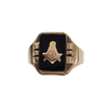 Vintage Masonic 14K Yellow Gold Onyx Signet Ring + Montreal Estate Jewelers