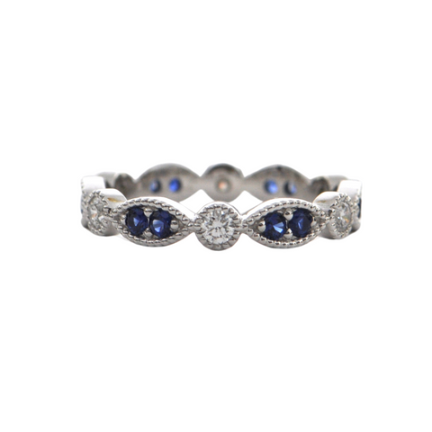 Daisy Exclusive 18K White Gold Sapphire and Diamond Eternity Band + Montreal Estate Jewelers