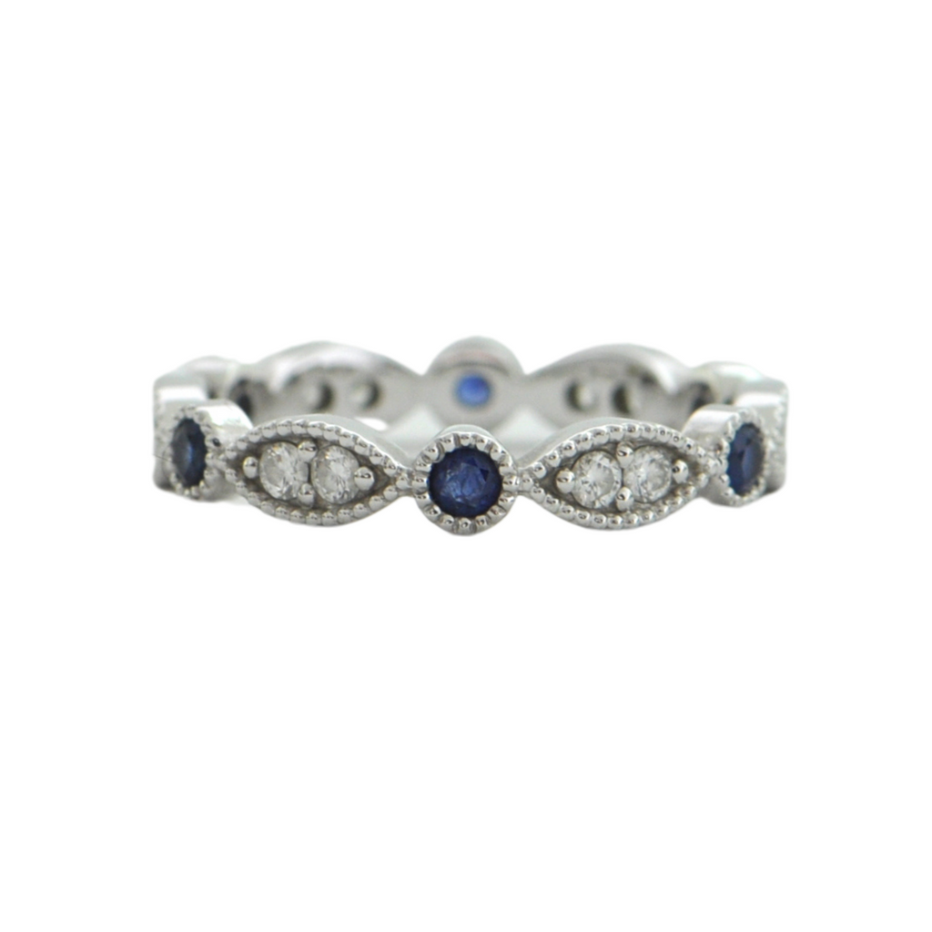 Daisy Exclusive Diamond and Sapphire 18K White Gold Eternity Band
