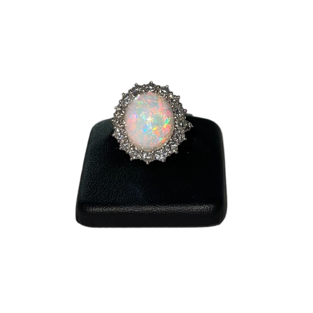 Vintage White Opal and Diamond 14k White Gold Ring + Montreal Estate Jewelers