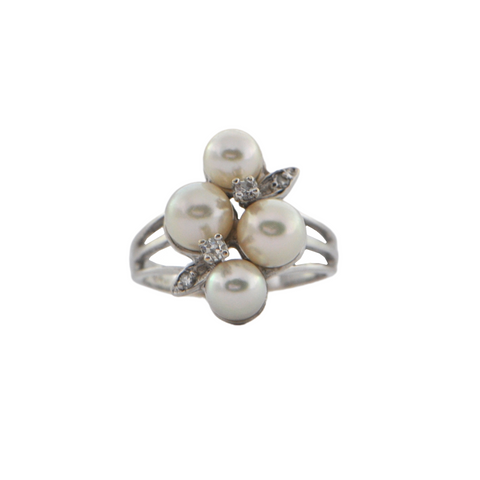 Vintage 10K White Gold Diamond and Pearl Ring + Montreal Estate Jewelers