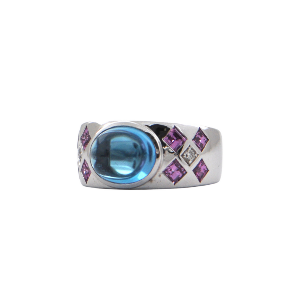 Vintage 18K White Gold Topaz and Pink Sapphire Ring + Montreal Estate Jewelers