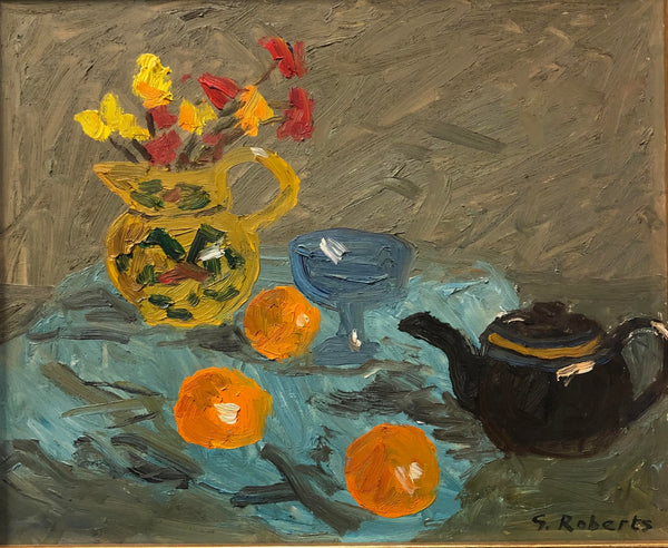 G. Roberts - 'Still Life in Blue' - Oil on Masonite (15