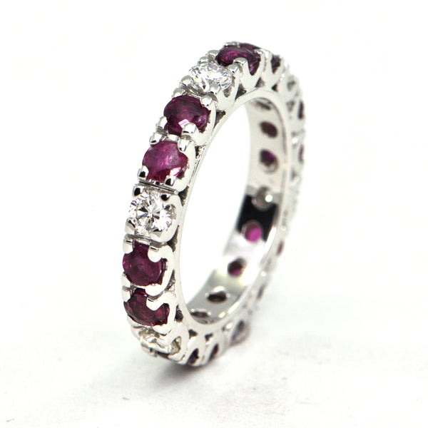 1.8 ct Ruby and 0.72 ct Diamond eternity band - montreal jewellers