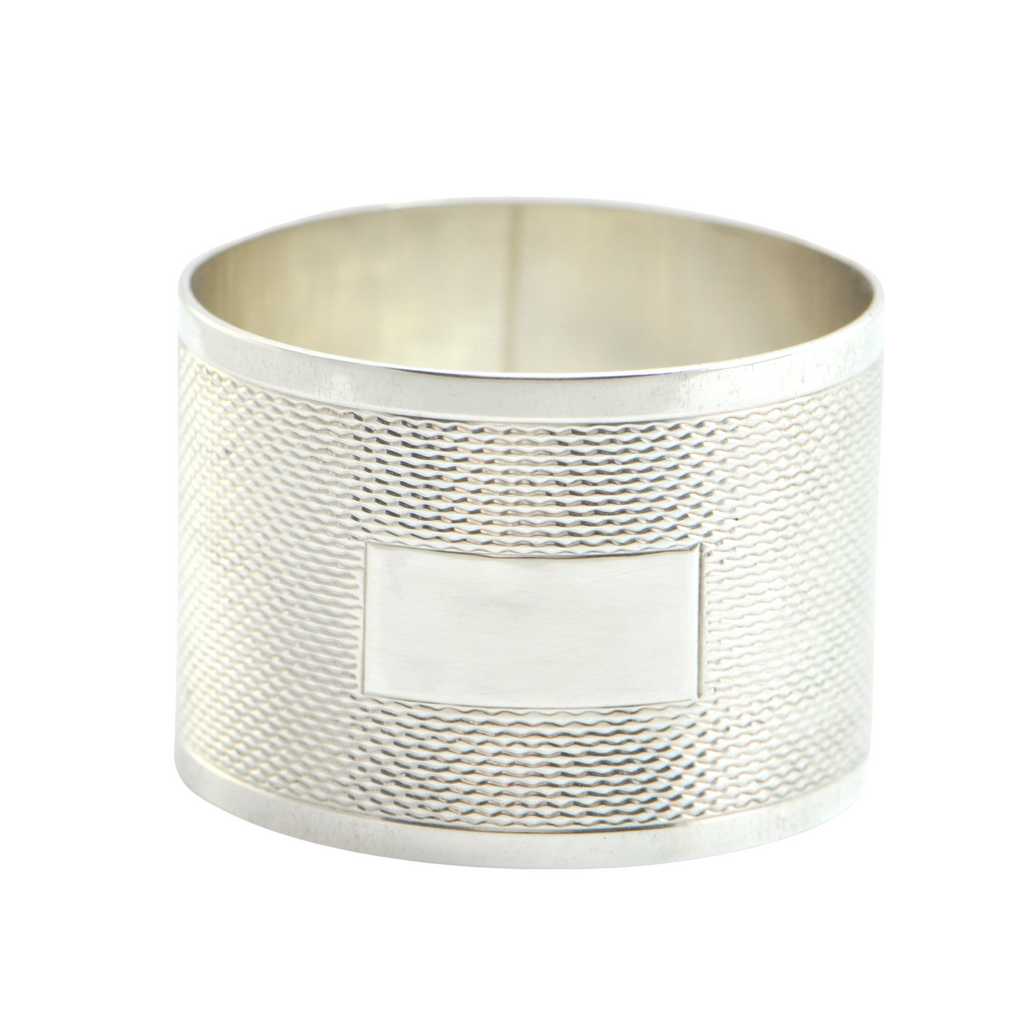 Vintage Guilloché Sterling Napkin Ring C.1946 J.B. Chatterly & Sons LTD + Montreal Estate Jewelers