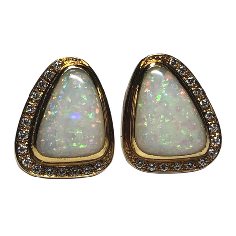 Vintage Burle Marx Opal and Diamond 18k Yellow Gold Earrings