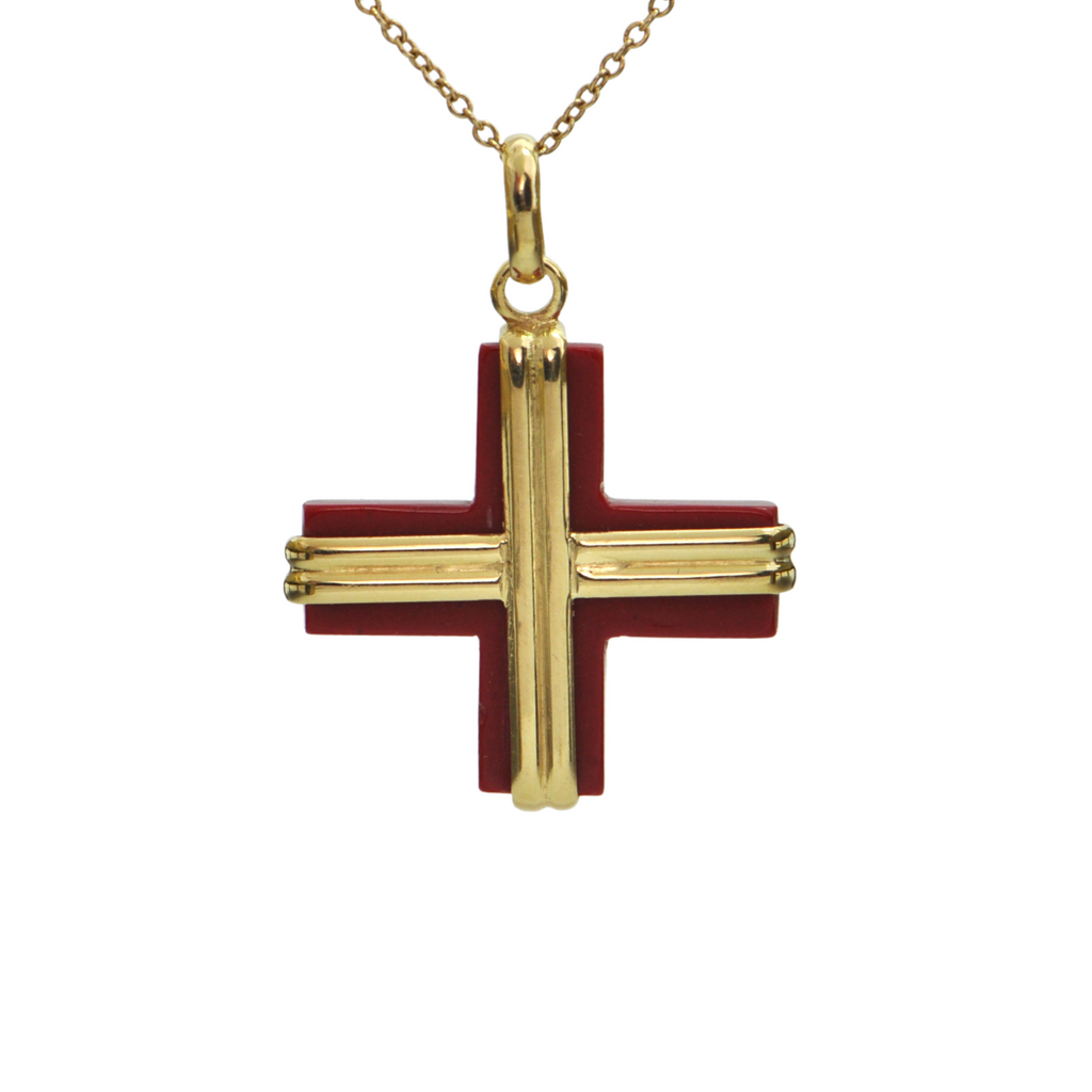 Vintage 18k Yellow Gold Quartzite Cross Pendant + Montreal Estate Jewelers