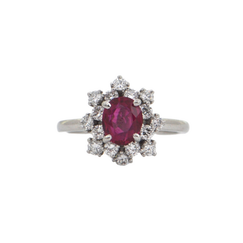 Fine Estate 'Birks' Platinum Burmese Ruby and Diamond Halo Ring